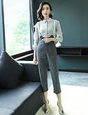 זול חליפות שני חלקים לנשים-צווארון חולצה מכנס אחיד - חולצה עבודה בגדי ריקוד נשים