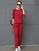 preiswerte Damen zweiteilige Anzüge-Damen T-shirt - Gestreift, Reine Farbe Hose / Herbst