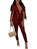 זול עליוניות לנשים-V עמוק חלול חיצוני, צבע אחיד - סרבלים כותנה מידות גדולות ליציאה בגדי ריקוד נשים / אביב / קיץ