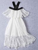 זול חולצה-שמלה כותנה אביב קיץ שרוולים קצרים יומי ליציאה אחיד פרחוני הילדה של חמוד נסיכות בוהו לבן