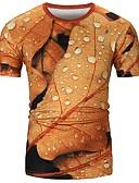 זול טישרטים לגופיות לגברים-עצים\עלים צווארון עגול כותנה, טישרט - בגדי ריקוד גברים דפוס / שרוולים קצרים