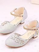 hesapli Çiçekçi Kız Elbiseleri-Genç Kız Ayakkabı Işıltılı Simler Bahar / Sonbahar Rahat / Çiçekçi Kız Ayakkabıları / Gençler için minik topuklar Topuklular için Gümüş /