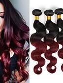 tanie Welony ślubne-3 zestawy 4 zestawy Włosy brazylijskie Body wave 10A Włosy virgin Ombre 10-26 in Ombre Ludzkie włosy wyplata Gorąca wyprzedaż 8a Ludzkich włosów rozszerzeniach