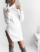 povoljno Ženski džemperi-Žene Izlasci Jednobojni Dugih rukava Duga Pullover, Dolčevita Jesen / Zima Crn / Blushing Pink / Žutomrk M / L / XL / S izrezom