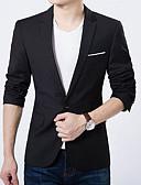 billiga Herrblazers och kostymer-Herr Dagligen Vår / Höst Normal Blazer, Enfärgad Spetsslag Långärmad Polyester Svart / Ljusblå XXXL / 4XL / XXXXXL / Business Casual / Smal