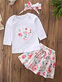 tanie Zestawy ubrań dla dziewczynek-Brzdąc Dla dziewczynek Na co dzień / Aktywny Wyjściowe Kwiaty / Haft Długi rękaw Bawełna Komplet odzieży / Urocza