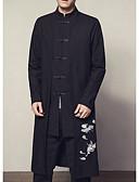 cheap Men's Jackets & Coats-Men's Long Linen Jacket Print Stand