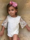 cheap Girls' Dresses-Baby Girls' Simple Solid Colored Half Sleeve Cotton / Linen / Bamboo Fiber Bodysuit