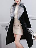 cheap Women's Fur & Faux Fur Coats-Women's Daily Winter Long Coat, Solid Colored Notch Lapel Long Sleeve Cotton / Acrylic Modern Style / Oversized Black XXL / XXXL / XXXXL