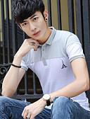 baratos Camisetas & Regatas Masculinas-Homens Camiseta Activo Estampa Colorida Colarinho de Camisa