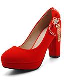 baratos Biquínis e Roupas de Banho Femininas-Mulheres Sapatos Pele Nobuck Primavera / Outono Conforto / Inovador Saltos Salto Alto Dedo Apontado Laço / Tachas Preto / Vermelho