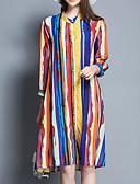 זול שמלות נשים-צווארון עגול קצר עד הברך דפוס, פסים - שמלה משוחרר כותנה בגדי ריקוד נשים