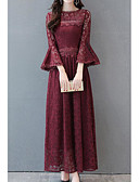 cheap Women's Dresses-Women's Plus Size Going out Sophisticated Flare Sleeve Cotton Swing Dress - Solid Colored Lace Maxi / Spring / Fall