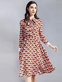 זול שמלות נשים-עומד Ruched, גיאומטרי קולור בלוק - שמלה גזרת A נדן סווינג בגדי ריקוד נשים