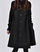 cheap Women's Coats & Trench Coats-Women's Street chic Trench Coat-Solid Colored Turtleneck