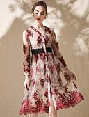 olcso Női ruhák-Női Boho Swing Ruha - Csipke, Színes V-alakú