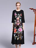 זול שמלות נשים-מידי פרח, פרחוני - שמלה משוחרר סגנון סיני / מתוחכם חגים בגדי ריקוד נשים
