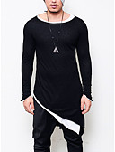 tanie Męskie koszule-podkoszulek Męskie Punk i gotyk Bawełna Klubowa Okrągły dekolt Jendolity kolor / Długi rękaw