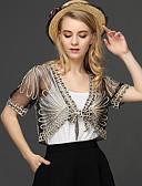 זול חולצות לנשים-אחיד V עמוק פעיל עבודה גלישה - בגדי ריקוד נשים תחרה רקום סרוג