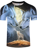 cheap Men's Tees & Tank Tops-Men's Plus Size T-shirt - Color Block Wolf, Print Round Neck Black XXXXL / Short Sleeve / Summer