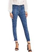 baratos Conjuntos Femininos-Mulheres Simples Jeans Calças - Sólido