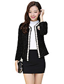cheap Women's Blazers-Women's Classic & Timeless Jacket-Solid Color,Beaded