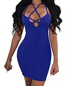 tanie Sukienki-Damskie Szczupła Spodnie - Jednokolorowe Niebieski, Odkryte plecy Czarny / Impreza / Mini / Halter / Z odsłoniętymi ramionami / Wyjściowe