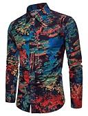 זול חולצות לגברים-מידות גדולות פשתן, חולצה - בגדי ריקוד גברים / שרוול ארוך