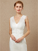 cheap Wedding Dresses-Sleeveless Tulle Wedding / Party / Evening Women's Wrap With Beading / Appliques / Button Vests