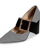 זול טישרטים לגופיות לגברים-בגדי ריקוד נשים נעליים עור אביב / סתיו נוחות עקבים עקב עבה שחור / חום בהיר
