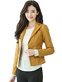 cheap Women's Blazers & Jackets-Women's Work Leather Jacket - Solid Colored Shirt Collar