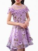 זול שמלות לבנות-שמלה שרוולים קצרים אחיד פשוט / בסיסי בנות ילדים / חמוד
