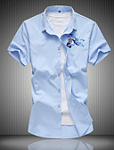 cheap Men's Shirts-Men's Plus Size Cotton Shirt - Animal / Short Sleeve