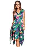 baratos Vestidos de Mulher-Mulheres balanço Vestido - Em Cruz, Floral Decote V Cintura Alta Assimétrico