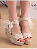 ieftine Pantaloni de Damă-Pentru femei Pantofi Țesătură Primăvară / Vară Confortabili Sandale Toc Platformă Auriu / Negru / Argintiu / Tocuri de toc