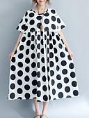 저렴한 여성 드레스-여성용 베이직 면 루즈핏 루즈핏 드레스 - 도트무늬 미디