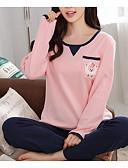 abordables Pijamas para Mujer-Mujer Escote en U Traje Pijamas Bloques