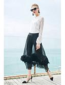 זול שמלות נשים-אחיד צווארון עגול קצר עבודה חולצה - בגדי ריקוד נשים