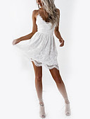 cheap Women's Dresses-Women's Holiday / Club Basic Slim A Line Dress - Solid Colored White, Lace High Waist Mini V Neck / Strap / Sexy