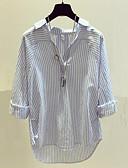 cheap Women's Blouses-Women's Work Going out Cute Street chic Cotton Shirt - Striped V Neck