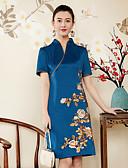 זול שמלות נשים-צווארון V רקום, פרחוני - שמלה נדן רזה בגדי ריקוד נשים