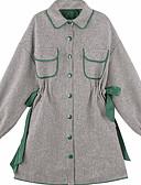 זול חולצה-צווארון חולצה מיני קפלים, צבע אחיד - שמלה משוחרר כותנה בגדי ריקוד נשים