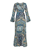 olcso Női ruhák-Női Extra méret Szabadság Boho Swing Ruha - Nyomtatott, Absztrakt Maxi V-alakú