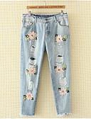 ieftine Pantaloni de Damă-Pentru femei Mărime Plus Size Bumbac Blugi Pantaloni - Plisată, Mată