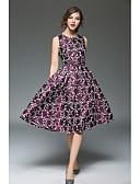 זול שמלות נשים-מותניים גבוהים עד הברך קפלים, פרחוני - שמלה גזרת A נדן רזה וינטאג' בגדי ריקוד נשים