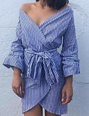 preiswerte Maxi-Kleider-Damen Ausgehen Street Schick Hülle Kleid - Gespleisst, Gestreift Übers Knie Schulterfrei Hohe Taillenlinie Blau / Sexy