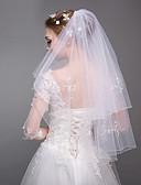 זול הינומות חתונה-שתי שכבות סגנון מודרני ירח דבש נסיכות סגנון מינימליסטי חתונה הינומות חתונה צעיפי מרפק עם דמוי פנינה גדילים (פרנזים) טול