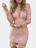 זול שמלות נשים-צווארון V מותניים גבוהים מיני תחרה / גב חשוף / חלול חיצוני, אחיד - שמלה צינור / נדן רזה כותנה סגנון רחוב ליציאה / מועדונים בגדי ריקוד נשים / אביב / קיץ
