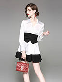 זול חליפות שני חלקים לנשים-חצאית צבע אחיד - סט סגנון רחוב בגדי ריקוד נשים