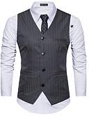 זול גברים-ג'קטים ומעילים-עבודה יומיומית של גברים פשוטה באביב קיץ אפוד רגיל, מפוספס V הצוואר פוליאסטר